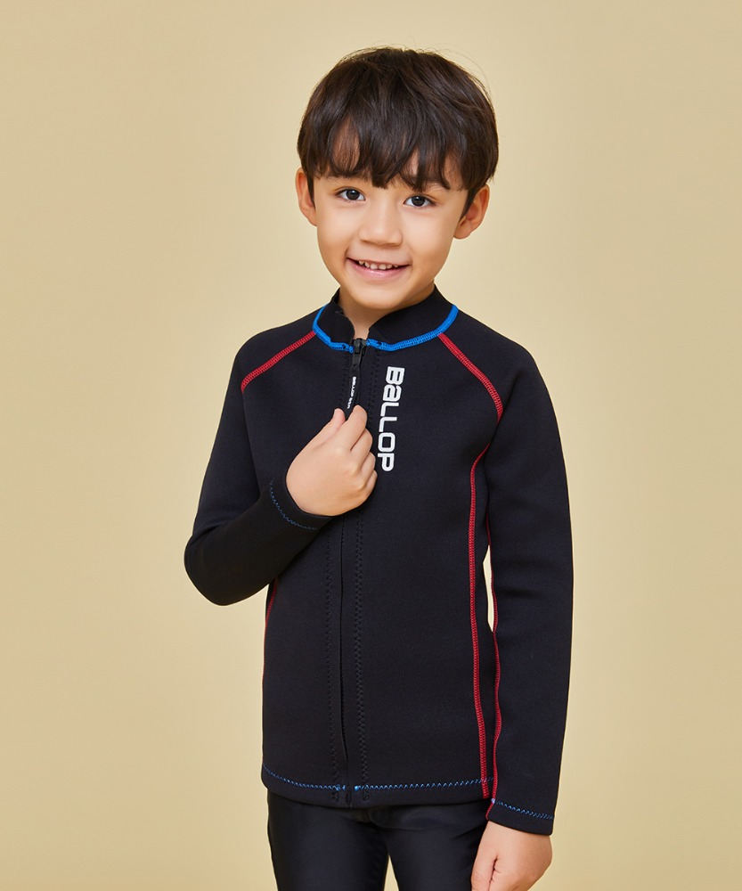 Ballop Kids' Contrast Stitch Rash Guard [Black]