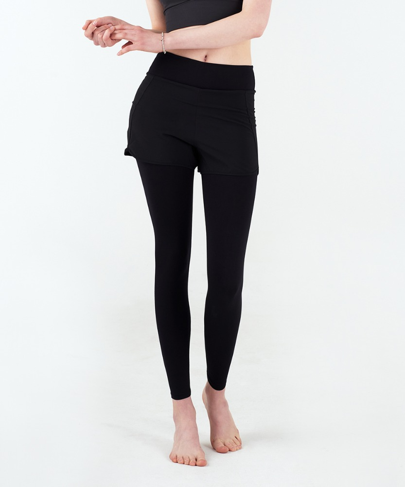 Signature Yoga Shorts-Layered Leggings [Black]