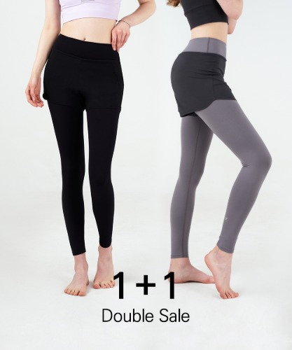 Signature Yoga Shorts-Layered Leggings 1+1 Set